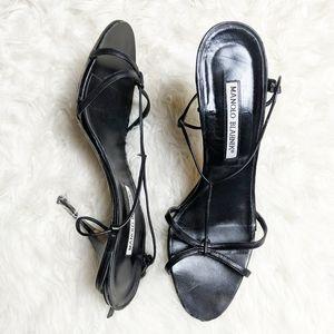Manolo Blahnik Black Strappy Heeled Sandal sz 40